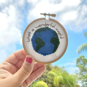 Wall Art - Earth cross stitch finished hoop